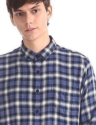 Ruggers Blue Spread Collar Check Shirt
