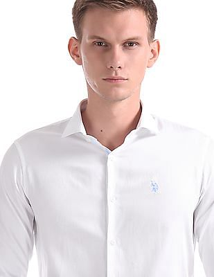 USPA Tailored Tailored Regular Fit Patterned Weave Shirt