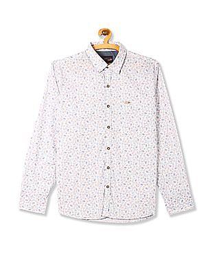 U.S. Polo Assn. Denim Co. White Printed Slim Fit Shirt
