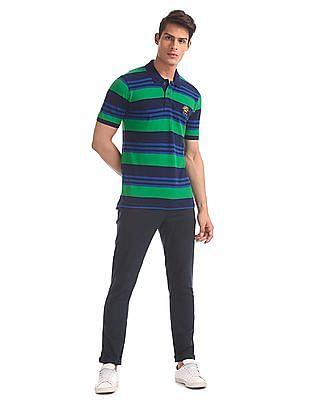 U.S. Polo Assn. Blue And Green Striped Polo Shirt