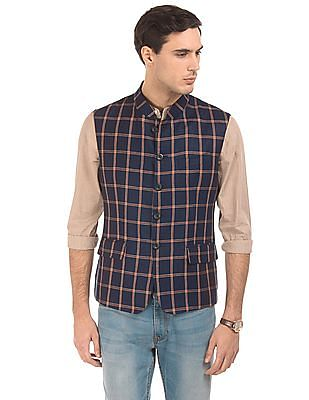 Arrow Regular Fit Check Nehru Jacket