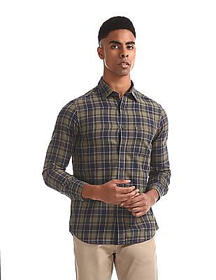 Arrow Sports Olive And Navy Mitered Cuff Check Shirt
