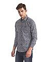 U.S. Polo Assn. Denim Co. Blue Spread Collar Printed Shirt