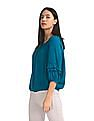 Cherokee Green Ruffled Accent Solid Peasant Top