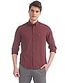 Arrow Sports Red Button Down Collar Printed Shirt