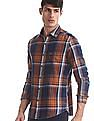 U.S. Polo Assn. Denim Co. Rust And Navy Slim Fit Check Shirt