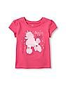 The Children's Place Toddler Girl Pink Short Sleeve 'Princess Of The Family' Poodle Graphic Tee