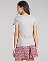 GAP Women Grey Floral Embroidered Graphic Crew Neck T-Shirt