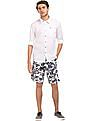 Flying Machine Tropical Print Cotton Shorts