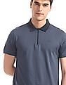 Flying Machine Blue Zip Up Front Solid Polo Shirt