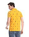U.S. Polo Assn. Denim Co. Yellow Allover Print Pique Polo Shirt