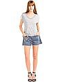 GAP Women Grey Cap Sleeve Stripe Tee