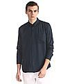 Ruggers Blue Spread Collar Solid Shirt