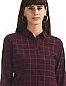 Elle Studio Purple Barrel Cuff Check Shirt