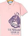 U.S. Polo Assn. Kids Pink Boys Front Print Pique Polo Shirt