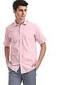 Arrow Sports Pink Short Sleeve Solid Shirt