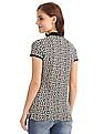 GAP Women Black Short Sleeve Print Polo