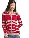 Cherokee Pink Round Neck Striped Cardigan