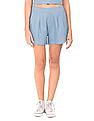 Flying Machine Women Pleated Front Woven Shorts