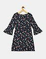 GAP Blue Girls Floral Print Fit And Flare Dress