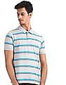 Ruggers Grey Rib Sleeve Hem Striped Polo Shirt