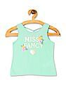 The Children's Place Toddler Girl Green Matchables Sleeveless Embellished Graphic Criss Cross Back Tank Top