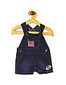 The Children's Place Baby Boys Short Raglan Sleeve Double Stripe Top And Football Patch Shortalls Set