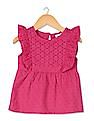 Donuts Girls Patterned Weave Ruffled Tunic