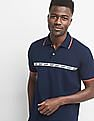 GAP Logo Sports Tape Pique Polo Shirt In Stretch