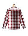 U.S. Polo Assn. Kids Grey And Red Boys Check Cotton Shirt